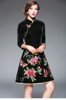 Women Velvet A-Line Dress Slim Floral Embroidery Casual Chinese Cheongsam Skirt