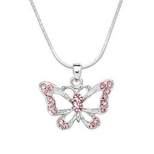 "Butterfly Charm Pendant Necklace - Sparkling Crystal - 18"" Chain - 3 Colors"