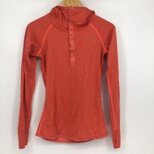 Nike Dri Fit Womens Size Small Orange Quarter Snap Up Running Jacket Long Sleeve