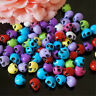 100PCS 10x13mm Multi-Clolors Acrylic Skull Loose Spacer Beads for Jewelry Making