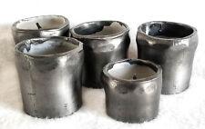 "Metal Votives, 1.5 - 2"" Candle Holders, Gunmetal Modern Industrial, Set of 5"