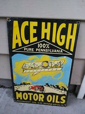Vintage Ace High Motor Oils Porcelain Sign