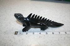 Vintage Black Lizard Carved Rock