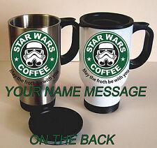 STAR WARS COFFEE TRAVEL MUG STAINLESS STEEL THERMAL MUG  PERSONALISED FREE