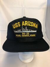 Vtg USS Arizona BB-39 Pearl Harbor Hawaii Large Parch Snapback Veteran Hat Cap