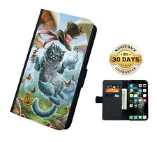 Alice In Wonderland Cheshire Cat Leather Flip Case Cover Wallet