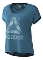 Reebok Womens T Shirt Short Sleeve T-Shirt Linear Logo Training Top Bk1919