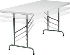 Flash 30''W x 72''L Height Adjustable Granite White Plastic Folding Table