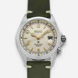 New Seiko Alpinist Cream Dial Green Leather Strap Men's Watch SPB123