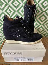 Geox Cuña De Ante Azul Marino Zapatillas Con Cordones, con cremallera interior UK6