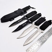 4× Camping Straight Fixed Knife Steel Blade Outdoor Hunting Diving Survival Tool