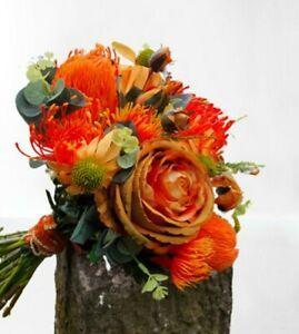 Orange Bride Bouquet, protea Artificial Wedding Flowers -  - Buttonhole, banksia