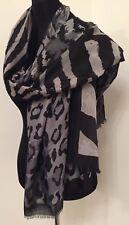 Bufanda Estampado de Leopardo Estampado Animal Gris Rectángulo Suave Largo Hermosa Nueva Preciosa