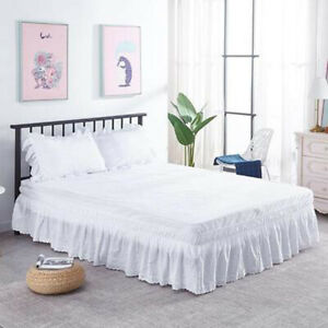 Lace Pleated Elastic Ribbon Bed Skirt Dust Ruffle Valance Drop Home Bedding