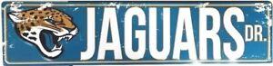 """JACKSONVILLE JAGUARS STREET METAL 24X5.5"""" SIGN DRIVE NFL DR ROAD AVE DISTRESSED"""