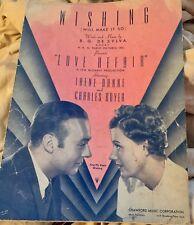 1939 WISHING Film Movie Sheet Music : LOVE AFFAIR -Irene Dunne by B.G. De Sylva