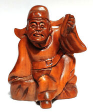 "Q4291 - 2 "" Hand carved Boxwood Netsuke -  Immortal Man with Book"