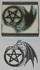 Winged Dragon with Pentagram Rubber Stamp by Amazing