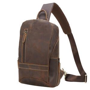 Men Leather Sling Bag Chest Pack Travel Backpack Sport Daypack Shoulder Bag