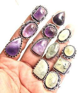 Prehnite & Amethyst Ring Handmade Ring 100 Pcs Lot Of Women rings Wholesale T&-5