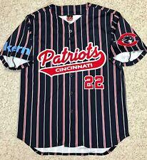 Cincinnati Patriots Baseball Jersey navy blue red pinstripe button front Men S/M