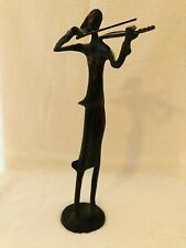 MODERN FEMALE VIOLINIST ON A WINDY DAY STATUE BRONZE METAL