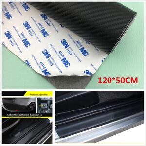 120*50CM Carbon Fiber Leather Car Scuff Plate Door Sill Cover Guard Protector