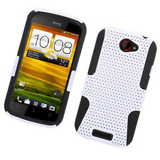 For T-Mobile HTC One S MESH Hybrid Silicone Rubber Skin Case Phone Cover White