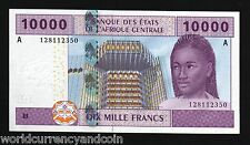 CENTRAL AFRICAN STATES GABON 10000 FRANCS P410A 2002 TRAIN UNC CURRENCY BANK NOT