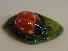 NEW WADE WHIMSIE LE 20 RED GOLD SPOTS LADY BIRD BUG ON LEAF