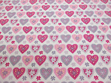 Ivory, Pink & Grey Hearts Printed 100% Cotton Poplin Fabric. Price Per Metre.