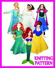 """6 KNITTING PATTERNS FOR BARBIE, DISNEY PRINCESS, 12"""" DOLL COSTUMES -  ALL 6!!"""