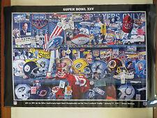 Vintage NFL Super Bowl 25 Silver Anniversary Poster Giants - Bills 1990 NEW