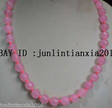 Natural AAA+++ 10mm faceted Pink Jade Round beads Gemstone necklace 18''
