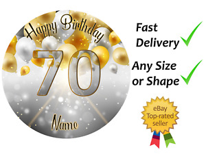 70th Birthday gold & silver Personalised cake topper edible icing or Wafer