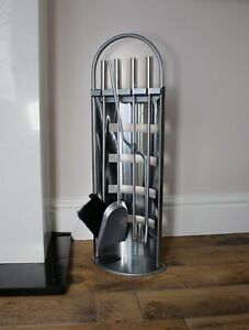 5pc Chrome Fireside Companion Set Silver Accessories Fire Place Tools Arc Coal