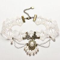 1x Lace Necklace Gemstone Pendant Victorian Chocker Lolita Goth Punk Collar FT