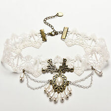 White Lace Chain Link Pearl Choker Antique Victorian Necklace Pendant F&F