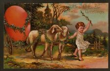 Collectible Easter Postcard: Little Girl, Sheep Pull Orange Egg in Cart
