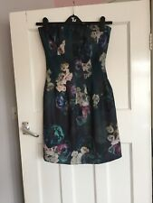 BNWT Stunning Green Floral Boob Tube Dress 10 wedding/ Christening / occasion