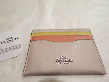 Coach Colorblock Leather Credit Card Case Holder Pink Multi Leather Auth. NWT