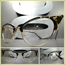 Classy Retro Cat Eye Style Clear Lens EYE GLASSES Tortoise & Gold Fashion Frame