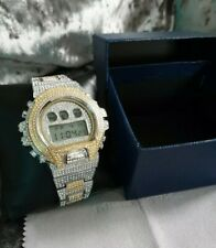 Mens Iced Out Digital Watch VVS Shock watch homage diamond watch two tone UK