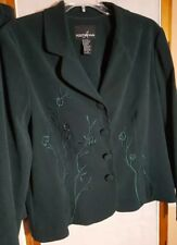 Positive Attitude Womens Suit Forest Green Petite  w-slacks and skirt I-10