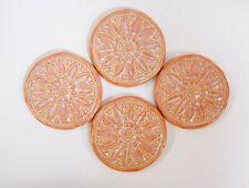 Floral Medallion Tiles Handmade Ceramic Craft / Mosaic Tiles Peach Pink 4 pcs