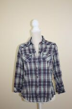 Heritage 1981 Womens Top Size M Blue and White Plaid Button Down Front A2RD8