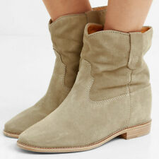 ISABEL MARANT Crisi Cluster Wedge Boots in Beige Suede Leather Size FR 40