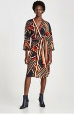 BNWT ZARA Striped Long Sleeve Sarong Dress Size M