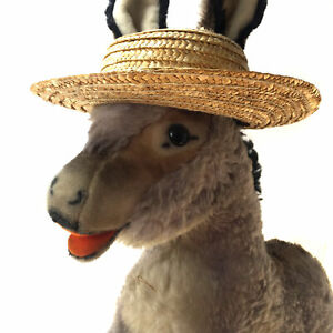 """Vintage 15"""" GRISSY Adorable Steiff Donkey Wearing Sombrero + Ear Button 40s/50s"""