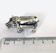 More details for sterling silver 3d hippo hippopotamus animal figure collectable statue curio bn